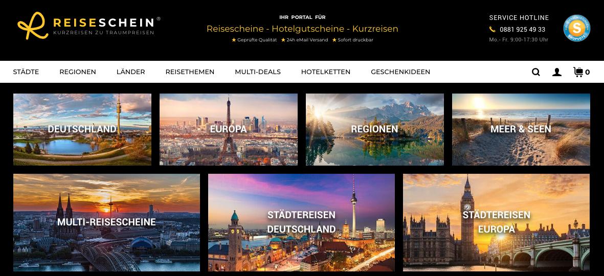 Reiseschein.de – Hotelgutscheine Partnerprogramm – Kurzreisen zu DEALPREISEN