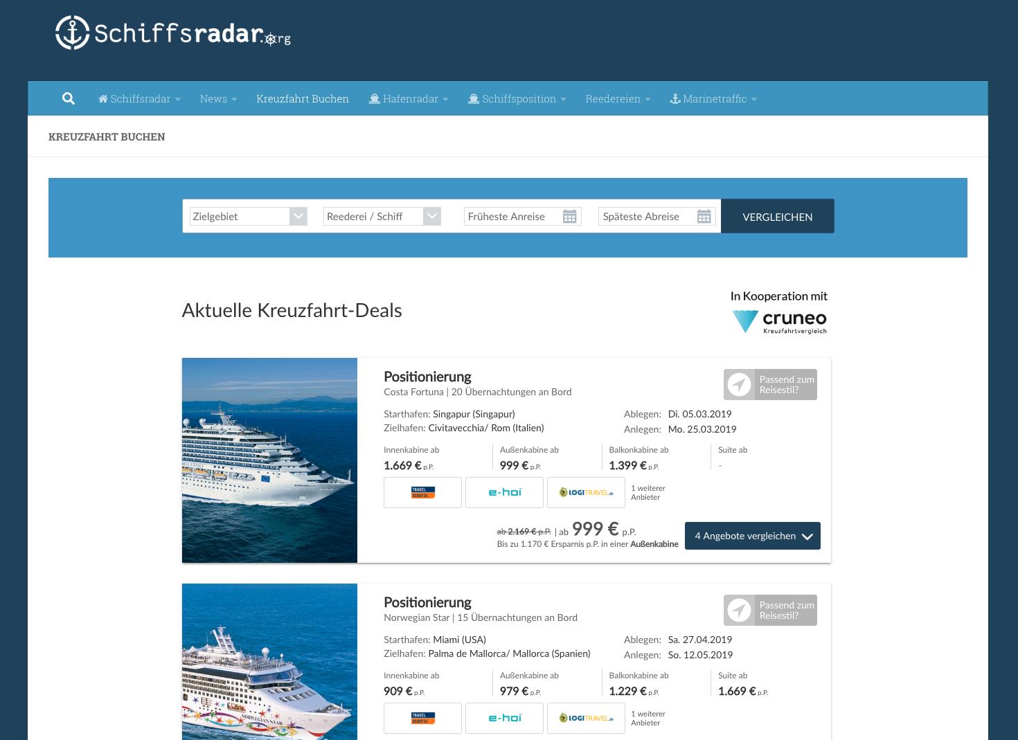 Kreuzfahrtberater Schiffsradar